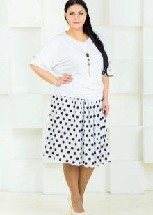 летняя юбка-миди в горох для полных женщин