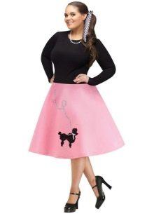 розовая юбка-солнце для полных женщин