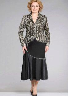 длинная юбка из кожи и ткани для полных женщин