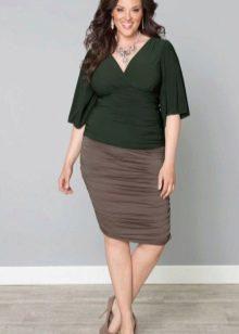 светло-коричневая юбка-карандаш для полных женщин