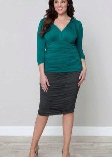 трикотажная юбка-карандаш для полных женщин