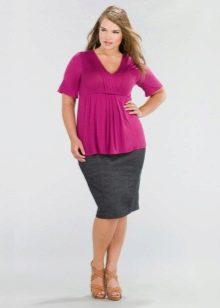 офисная юбка-карандаш для полных женщин