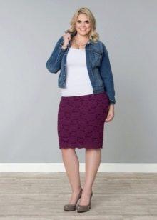 кружевная юбка-карандаш для полных женщин