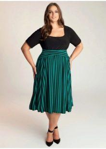 юбка в продольную полоску для полных женщин