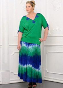 летняя юбка-макси для полных женщин