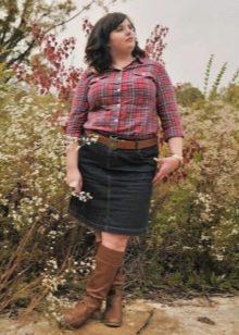 Джинсовая юбка карандаш для девушки с фигурой типа Яблоко