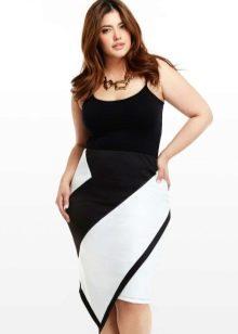 Асимметрична черно-белая юбка для девушки с фигурой типа Яблоко