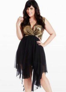 Черная асимметричная юбка для девушки с фигурой типа Яблоко