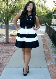 Черно-белая юбка для девушки с фигурой типа Яблоко