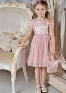 Коктейльное бежевое платье татьянака для девочки
