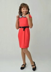 Коктейльное платье для девочки прямое с воротником