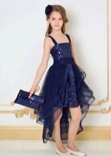 Синее коктейльное платье со съемной юбкой для девочки