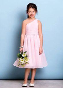 Коктейльное платье для девочки на одно плечо