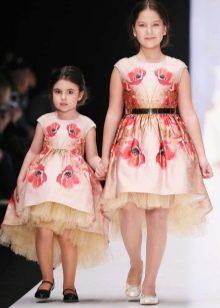 Коктейльное платье для девочки короткое спереди длинное сзади