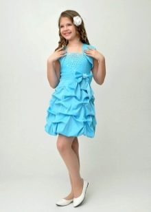 Коктейльное платье для девочки голубое
