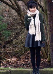 Кожаная юбка солнце на осенне/весенний сезон
