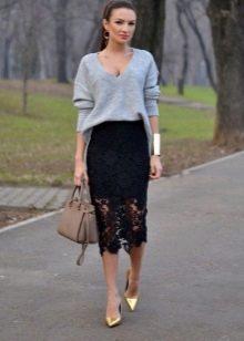 кружевная юбка-карандаш с объемным верхом