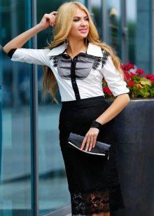 кружевная юбка-карандаш с блузкой