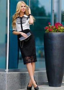 черно-белый наряд с кружевной юбкой
