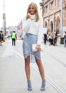 кружевная юбка-карандаш с джемпером