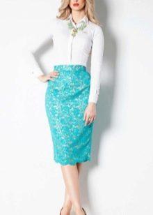 кружевная юбка-карандаш  цвета аквамарин