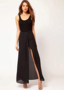 Длинная черная юбка на лето
