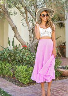 Легкая летняя юбка и шляпа