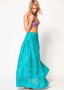 Летняя юбка в пол яркого цвета