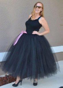Черная многослойная длинная юбка