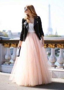 Персиковая многослойная длинная юбка