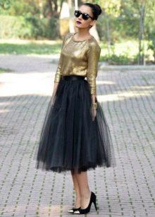 Многослойная черная миди юбка