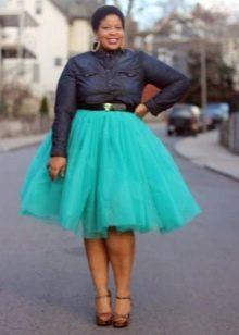 Многослойная бирюзовая юбка из фатина