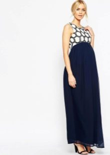 Синее нарядное платье для беременных