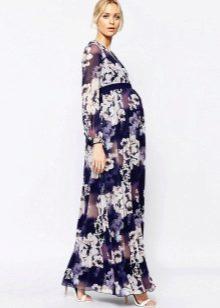 Нарядное платье для беременных с длинными рукавами