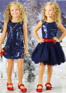 Новогоднее платье для девочки синие