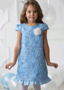 Новогоднее платье-трапеция короткое для девочки