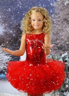 Новогоднее платье для девочки красное с пышной юбкой