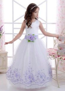 Новогоднее платье для девочки белое с принтом