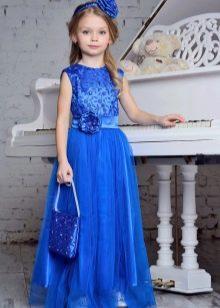 Синее новогоднее платье для девочки в пол