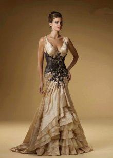 золотисто-черное платье-русалка из тафты