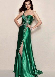платье с разрезом из зеленой тафты