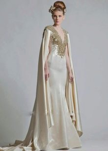 платье из тафты с V-образным вырезом