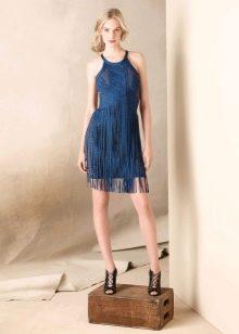 Синее платье с бахромой
