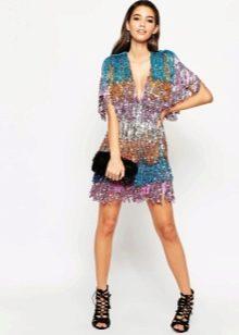 Раноцветное платье с бахромой