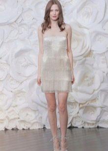 Платье белое с бахромой