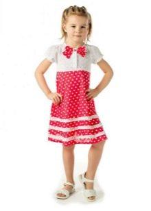 Прямое платье для девочки 5 лет в горошек