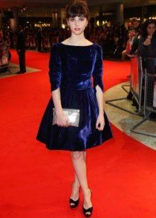 Платье из велюра А-силуэта синее