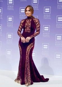Платье из велюра длинное с кружевом