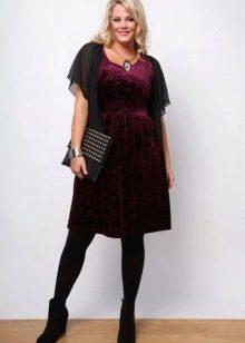 Платье из велюра бордовое для полных