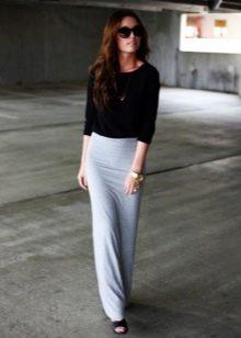 Прямая длинная в пол серая юбка